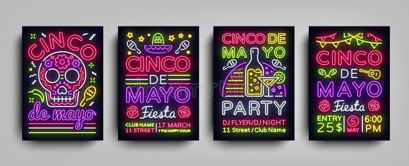 Cartazes de Cinco de Mayo Collection no estilo de néon Convite dos insetos dos moldes da cenografia para Sinco de Mayo Celebratio ilustração do vetor