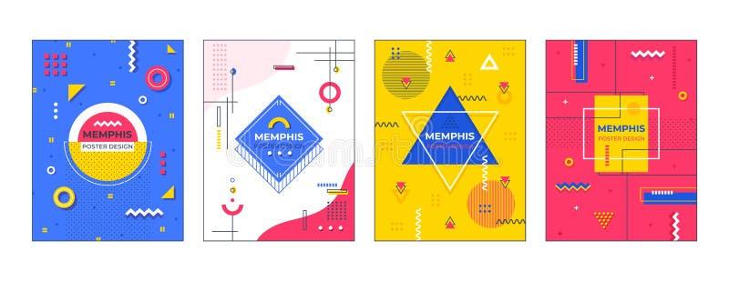 Cartazes de Memphis Gráfico geométrico mínimo da bandeira, molde contemporâneo da forma, projeto criativo da forma Sum?rio do vet ilustração do vetor