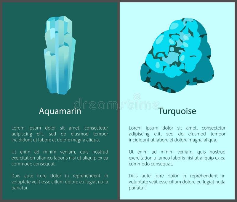 Cartazes de minerais do azul de água-marinha e de turquesa ajustados ilustração stock