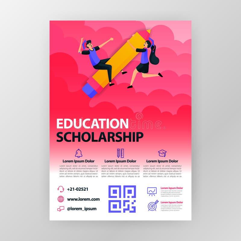 Cartazes de seminários comerciais sobre bolsas de estudo e educação com ilustração de desenho animado plano folheto informativo ilustração royalty free