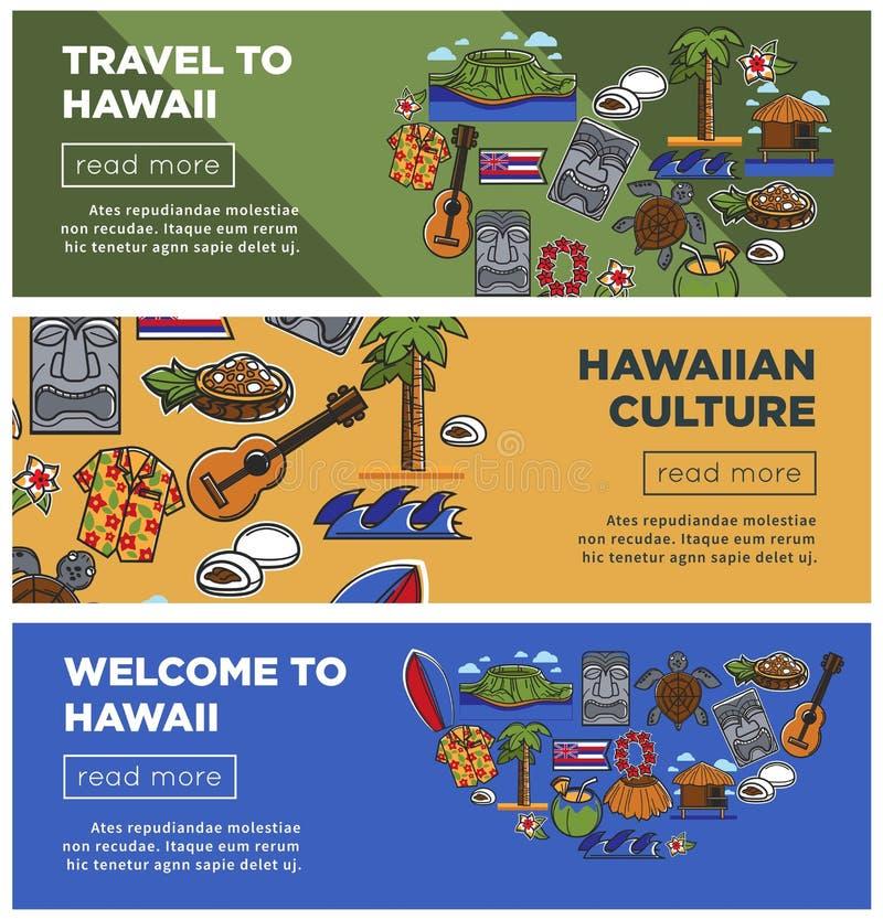 Cartazes do curso de Havaí de símbolos do Hawaiian e de ícones sightseeing famosos dos marcos da cultura ilustração royalty free