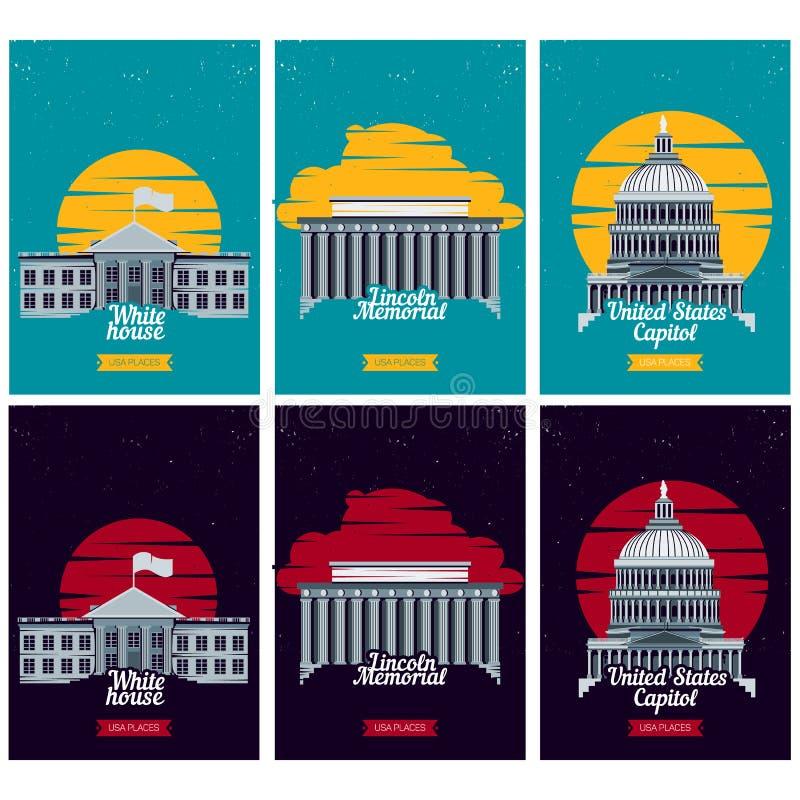 Cartazes do destino do turista dos EUA Vetor ilustração royalty free