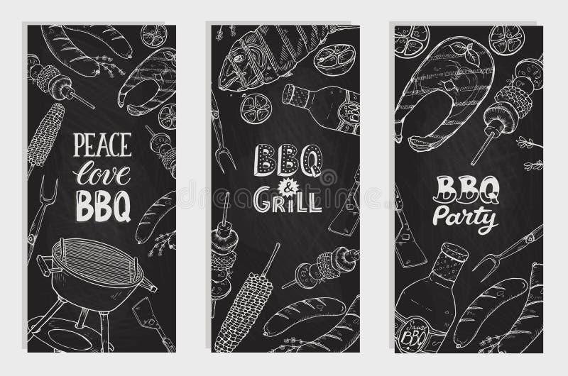 Cartazes do partido do BBQ ilustração royalty free