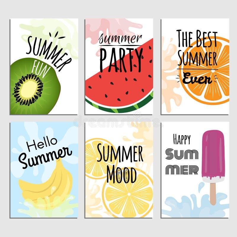 Cartazes do verão com frutos tropicais ilustração royalty free