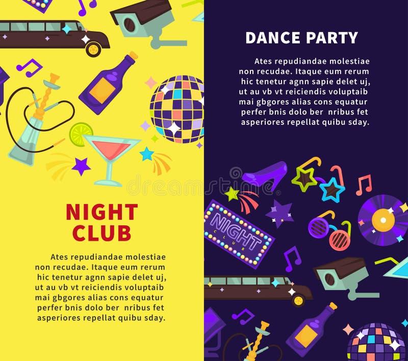 Cartazes do vetor do partido e do dance party do clube noturno ilustração stock