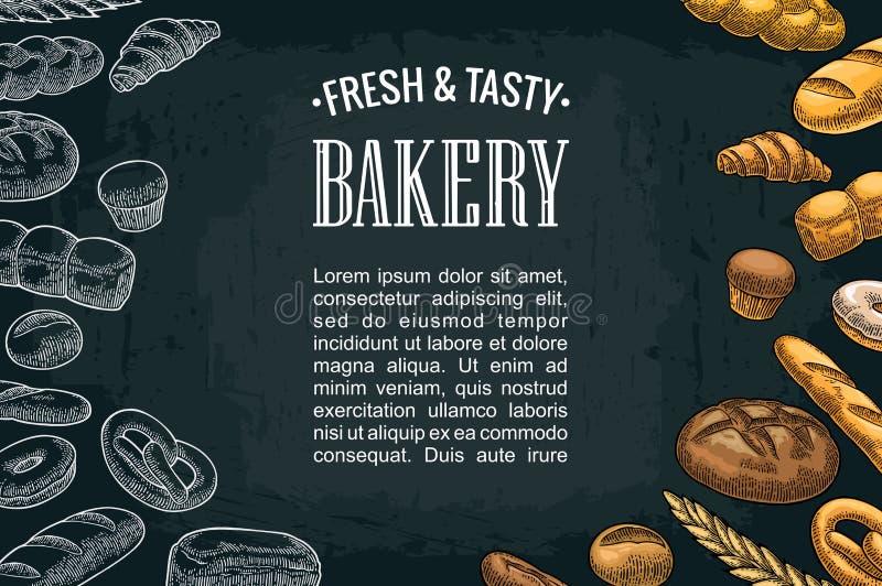 Cartazes horizontais com pão no fundo escuro ilustração stock