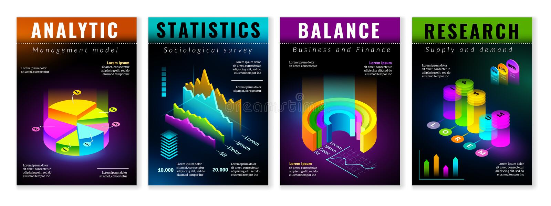 Cartazes infographic isométricos ilustração royalty free