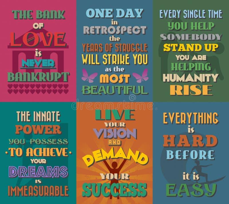 Cartazes inspiradores e inspirados incomuns das citações Grupo 3 ilustração stock