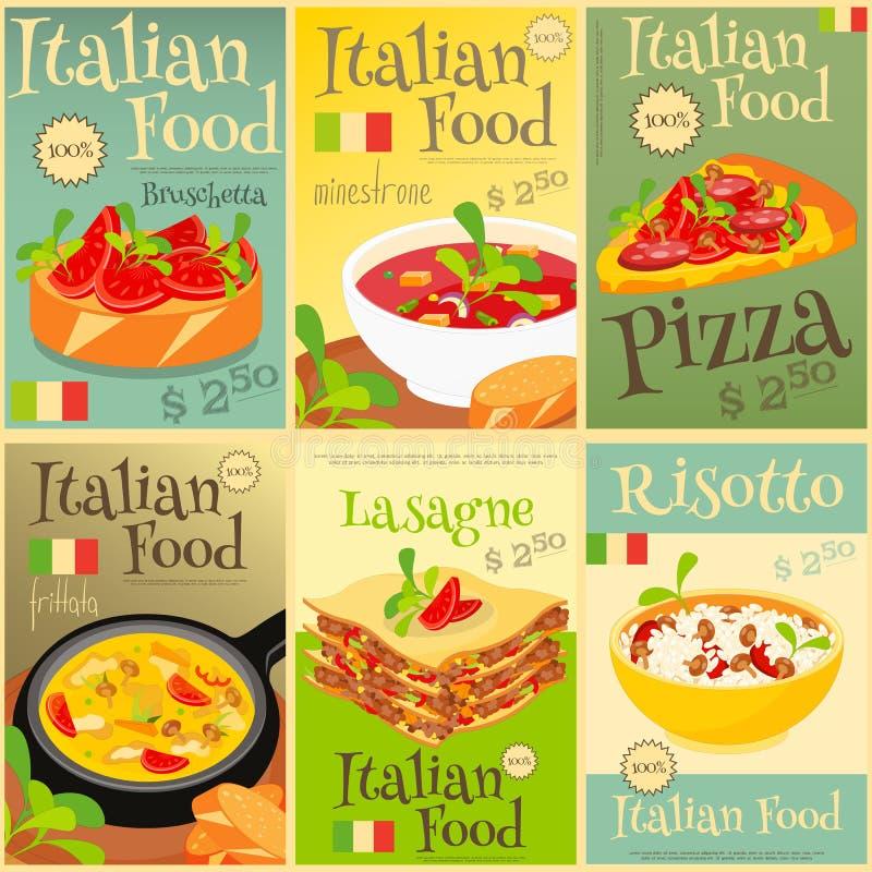 Cartazes italianos do alimento ajustados ilustração do vetor