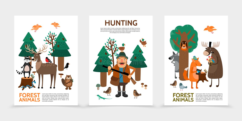 Cartazes lisos da caça ilustração do vetor