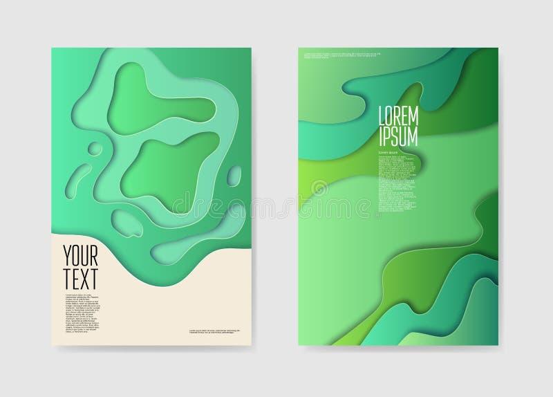 Cartazes mergulhados do papel corte abstrato O líquido dá forma ao molde do folheto ilustração do vetor