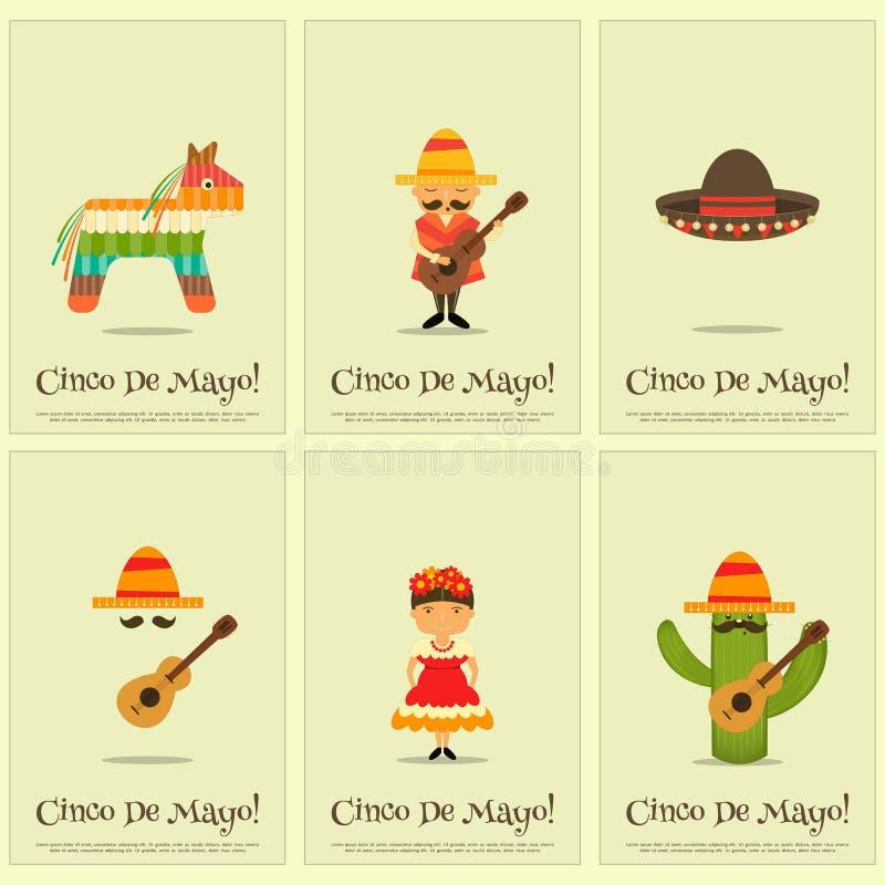 Cartazes mexicanos ilustração stock