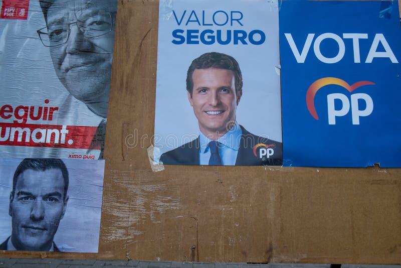 Cartazes 2019 políticos da eleição da Espanha fotografia de stock