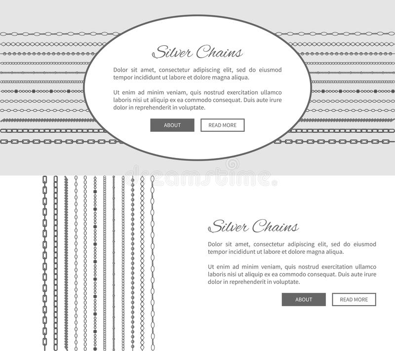 Cartazes relativos à promoção do Internet das correntes da prata ajustados ilustração stock