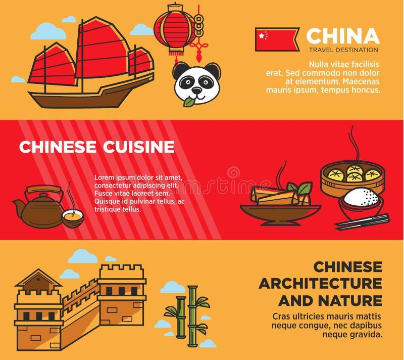 Cartazes relativos à promoção nacionais chineses da arquitetura e da natureza ajustados ilustração royalty free
