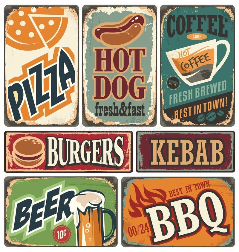 Cartazes retros do alimento e elementos do projeto ilustração do vetor