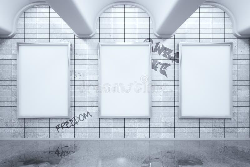 Cartazes vazios do anúncio no metro ilustração stock
