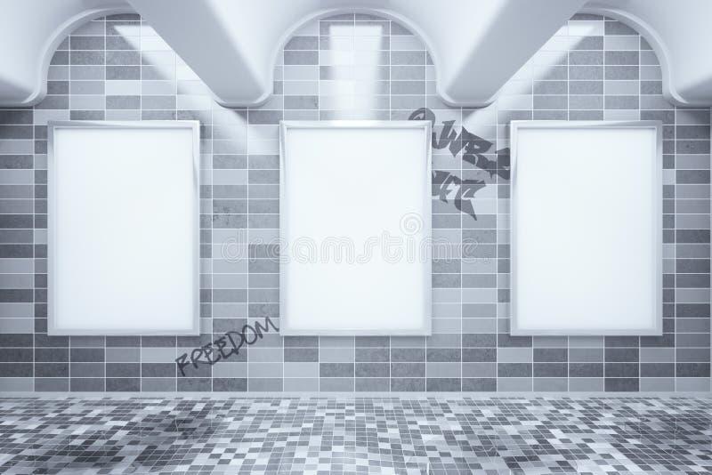 Cartazes vazios do anúncio no metro ilustração royalty free