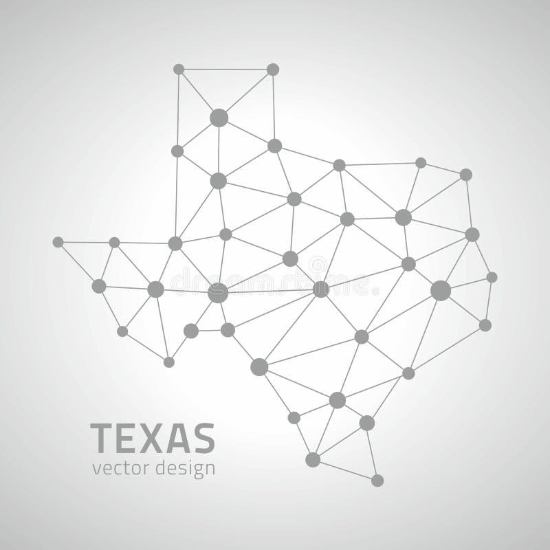 Carte à la mode de perspective de vecteur du Texas de point gris de mosaïque illustration de vecteur