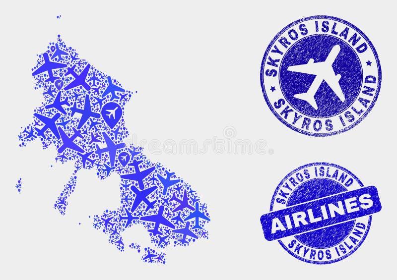 Carte à trajectoire aérienne d'île de Skyros de vecteur de collage et joints grunges illustration libre de droits