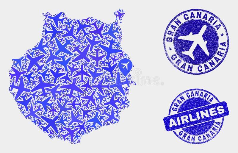 Carte à trajectoire aérienne de Gran Canaria de vecteur de collage et joints grunges illustration libre de droits