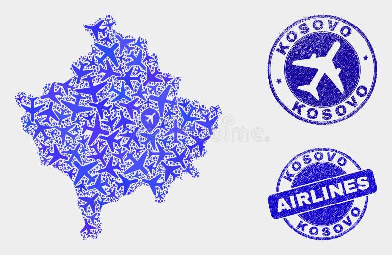 Carte à trajectoire aérienne de Kosovo de vecteur de composition et joints grunges illustration de vecteur