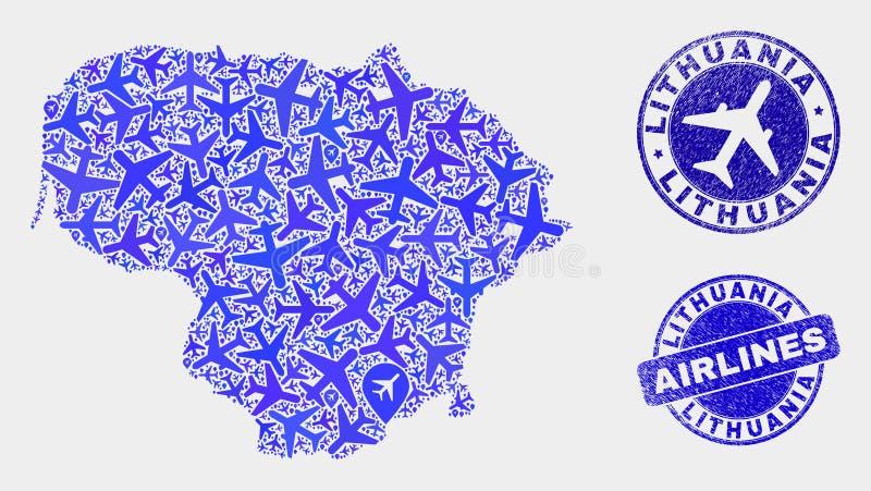 Carte à trajectoire aérienne de la Lithuanie de vecteur de collage et joints grunges illustration de vecteur