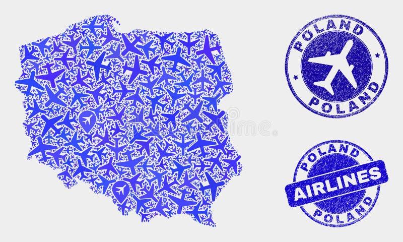 Carte à trajectoire aérienne de la Pologne de vecteur de composition et timbres grunges illustration libre de droits