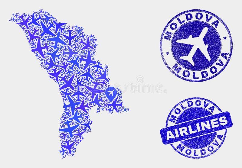 Carte à trajectoire aérienne de Moldau de vecteur de mosaïque et timbres grunges illustration libre de droits