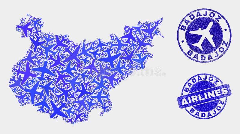 Carte à trajectoire aérienne de province de Badajoz de vecteur de collage et timbres grunges illustration libre de droits