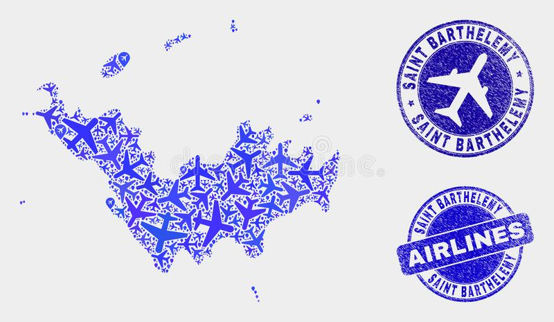 Carte à trajectoire aérienne de St Barthelemy de vecteur de composition et joints grunges illustration stock