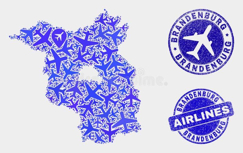 Carte à trajectoire aérienne de terre de Brandebourg de vecteur de collage et joints grunges illustration stock