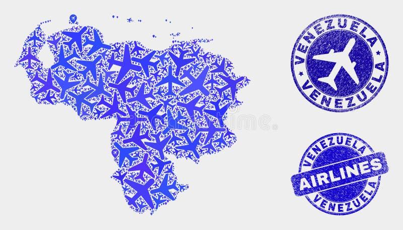 Carte à trajectoire aérienne du Venezuela de vecteur de collage et timbres grunges illustration de vecteur