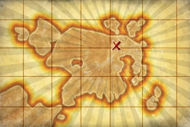 Carte âgée de trésor illustration de vecteur