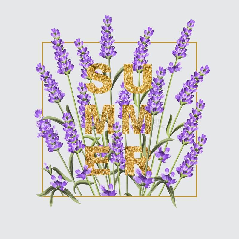 Carte élégante avec des fleurs de lavande illustration libre de droits