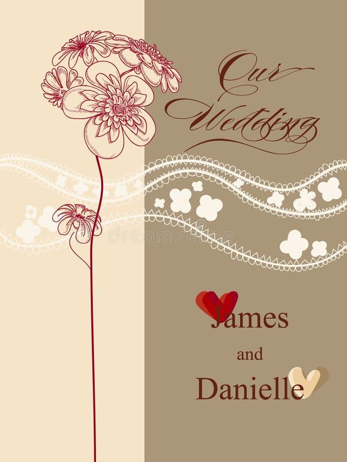 Carte élégante d'invitation de mariage illustration de vecteur