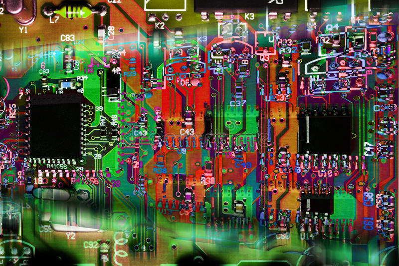 Carte électronique abstraite multicolore image stock