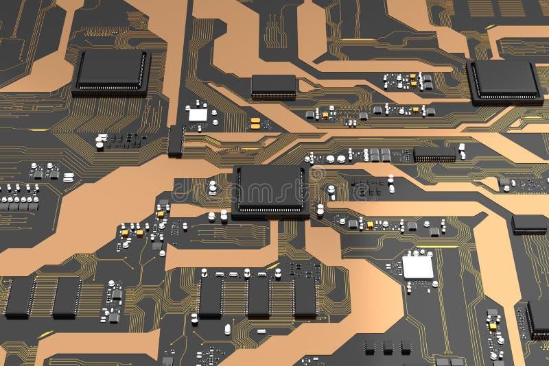 carte électronique de 3D Rendered avec l'ele de processeur de jeu de puces d'unité centrale de traitement illustration stock
