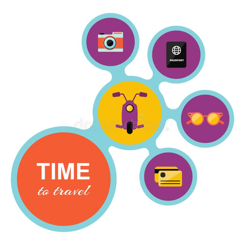 """Carte """"heure de voyager """"avec les icônes supplémentaires, comme : scooter, caméra, passeport, carte, lunettes de soleil illustration stock"""