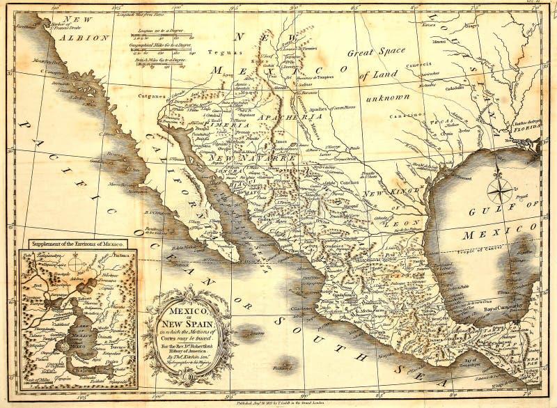 Carte 1821 du Mexique photographie stock libre de droits