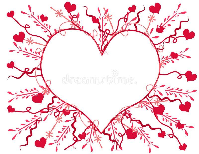 Carte 2 de coeur de jour d'Artsy Valentine illustration stock