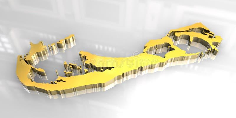 carte 3d d'or des Bermudes illustration libre de droits