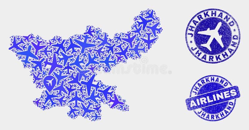 Carte aérienne d'état de Jharkhand de vecteur de mosaïque et joints grunges illustration de vecteur