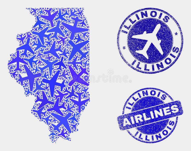 Carte aérienne d'état de l'Illinois de vecteur de composition et joints grunges illustration de vecteur