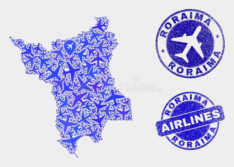 Carte aérienne d'état de Roraima de vecteur de mosaïque et joints grunges illustration de vecteur