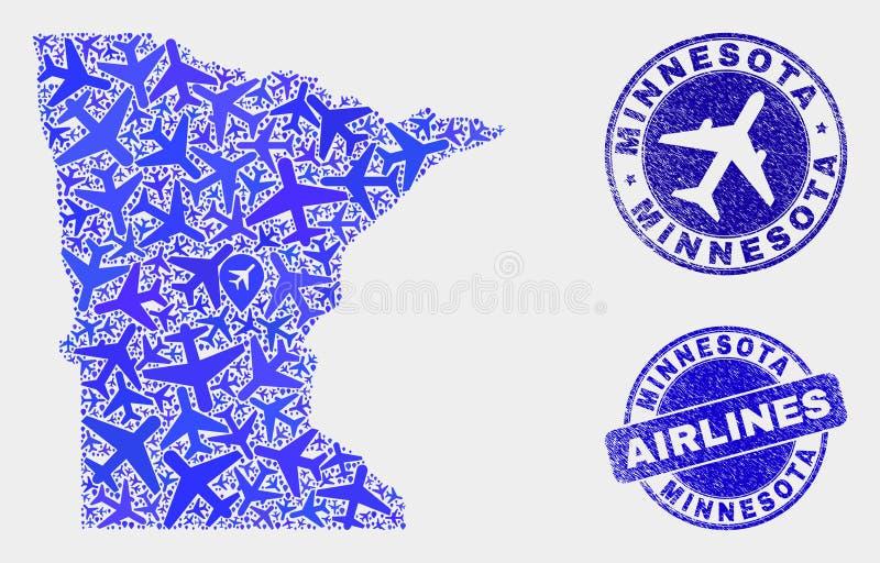 Carte aérienne d'état du Minnesota de vecteur de collage et joints grunges illustration stock
