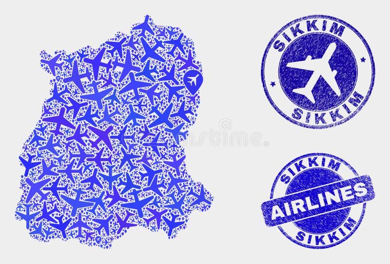 Carte aérienne d'état du Sikkim de vecteur de mosaïque et joints grunges illustration de vecteur