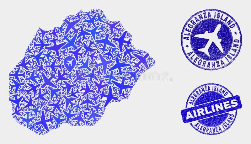 Carte aérienne d'île d'Alegranza de vecteur de composition et timbres grunges illustration stock