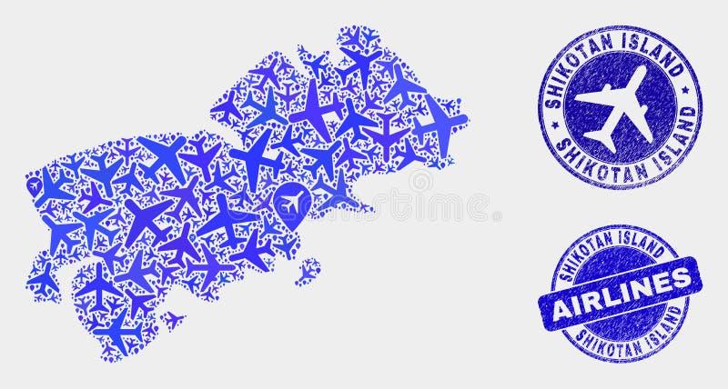Carte aérienne d'île de Shikotan de vecteur de mosaïque et timbres grunges illustration libre de droits