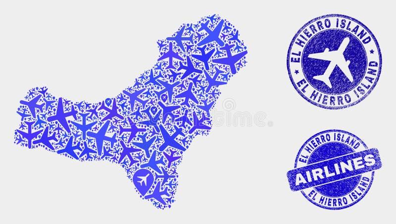 Carte aérienne d'île d'EL Hierro de vecteur de mosaïque et timbres grunges illustration libre de droits